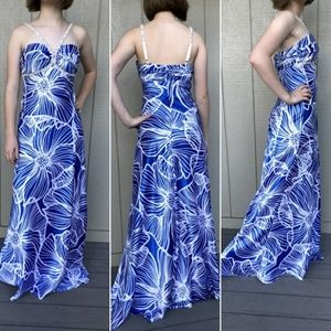 Beaded prom dress Blue White long floral satin sm